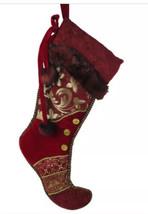 Christmas Stocking Gold Buttons Red Brocade Fur Trim Jester Joker 30-inch - $19.78