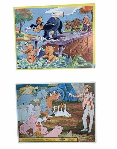 Walt Disney 2 Inlaid Frame Tray Puzzles 3 Little Pigs Farm Animals Dick Van Dyke - $23.03