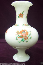 "7"" White Marble Vase Hakik Semi Precious Inlay Work Pietradure Home Decor Gifts - $276.48"