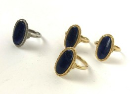 Lot of 4 Vintage Rings Sodalite Mod Cocktail Geo Costume gold tone silve... - $19.79