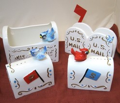 4Pc Set Enesco Us Mail Salt Pepper Napkin Holder & Bill Holder Mail Box w Birds  - $74.25