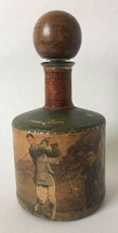 Vintage Leather Wrapped Glass Decanter Liquor Bottle w Wood Stopper Golf... - $29.95
