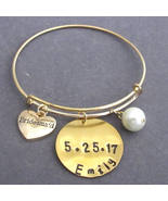 Personalized Bridesmaid Bracelet Bridesmaid Expandable Bangle Wedding - $16.40
