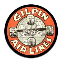 Vintage GilpinAilines West Coast Airline Reproduction Round Aluminum Sign - $16.09