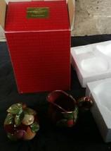 Fitz and Floyd Renaissance Sugar Bowl Lid and Creamer Box Fruits Leaves NIB - $39.59