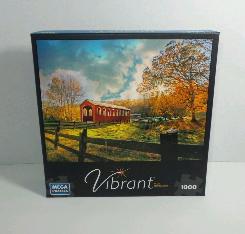 Vibrant Red Country Covered Bridge 1000 pieces NIB