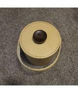 Vintage 50s 60s Yellow Plastic BasketWeave Ice Bucket W Lid & Handle MCM... - $27.99
