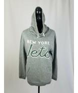 Junk Food Clothing women L NFL New York Jets cocoon hoodie sweatshirt gray - $29.70