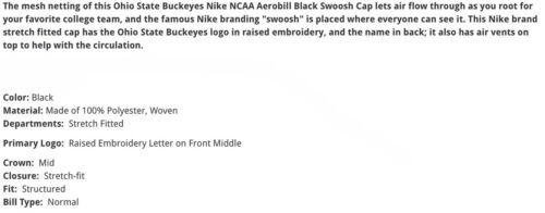 Ohio State Buckeyes NIke Black On Black Tonal M/L Mesh Flexfit Fitted Cap Hat