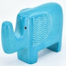 Hand Carved Kisii Soapstone Aqua Sky Blue Bashful Elephant Figure Made in Kenya image 2