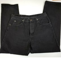 WRANGLER JEANS 38 x 32 BLACK RELAXED FIT 100% COTTON DENIM EUC  - $13.97