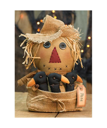 "Primitive Style Pete Scarecrow doll w/crows Fall Halloween Decor 14"" H - $42.00"