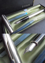 PARKER SONNET fountain pen in steel In gift box Original - $42.00