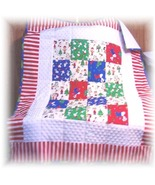 Snoopy's Vintage OOP Christmas Fabric Patchwork Baby/Toddler Quilt - $60.00