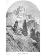 YELLOWSTONE Cliffs over Tower Falls - 1883 German Print - $17.96