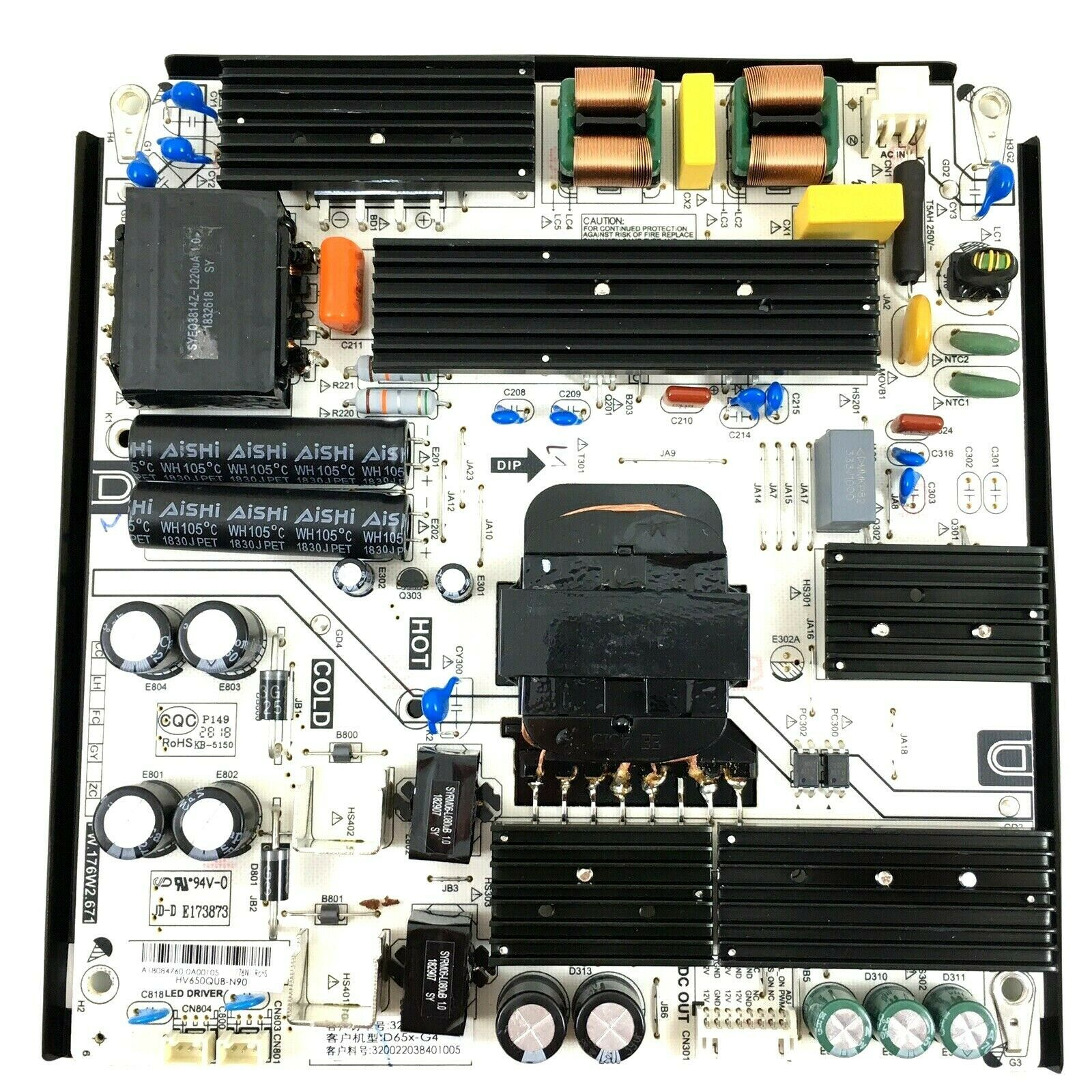 Primary image for VIZIO D65X-G4 Power Supply Board  PW.176W2.671  HV650QUB-N90  320022038401005