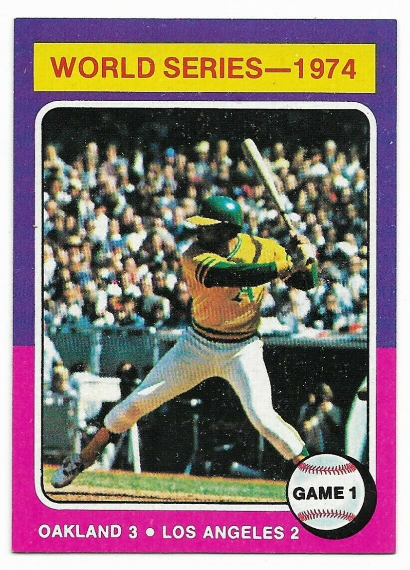 1975 Topps #461 1974 World Series Reggie Jackson, Game 1