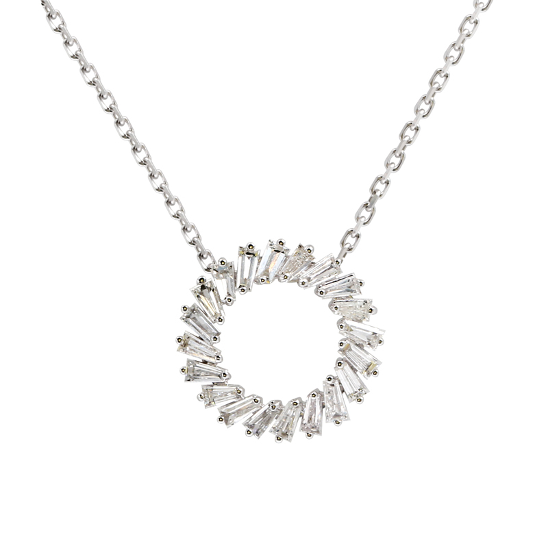 14k White Gold Diamond Pendant Necklace Wreath Design 0.31CTTW G/SI Diamond