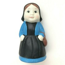 Vintage Chalkware Statue Figurine Coin Bank Peasant Woman Hand Painted U... - $34.99