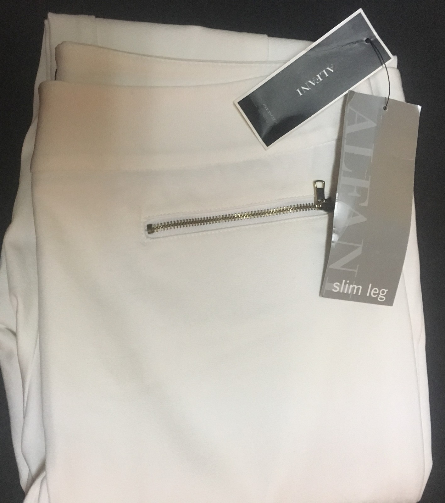 Alfani White Slim Leg Pants Slacks Sz 12