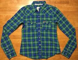 Hollister Women's Blue, Green & White Plaid Long Sleeve Dress Shirt - Si... - $14.84