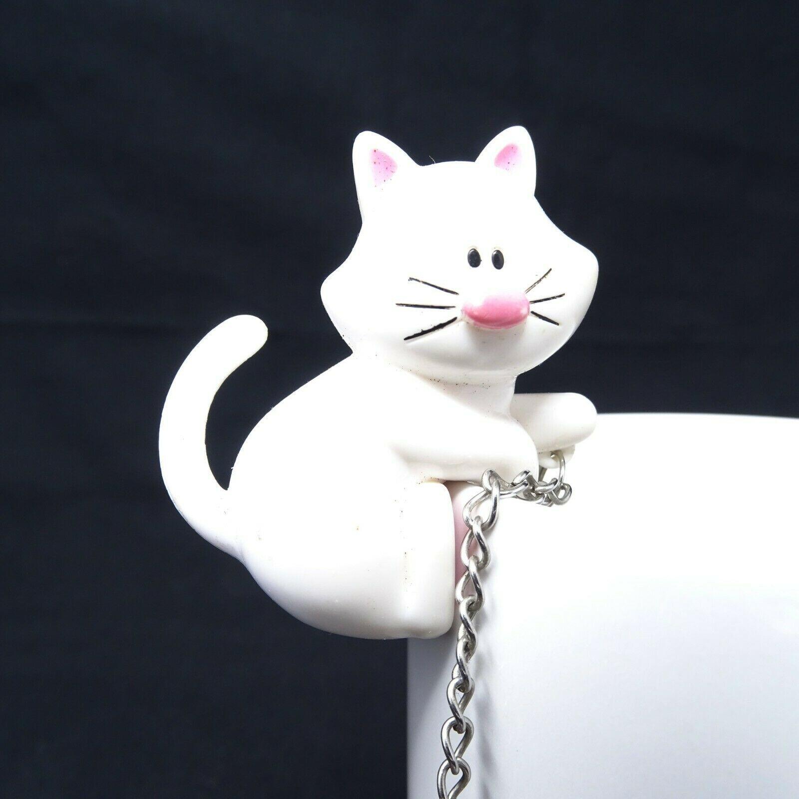 Meow Cat Fishing Tea Infuser Kitten Fish Stainless Steel White - $12.19