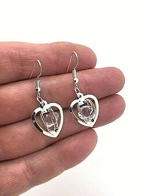 Primary image for Heart Sphere with Crystal Stones Drop Earrings Sterling Silver NEW