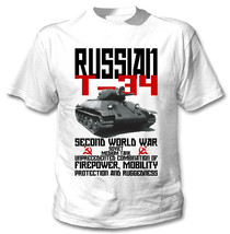 Russian T-34 Tank Wwii - New Cotton White Tshirt - $25.39