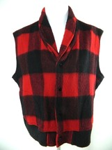 Vintage WOOLRICH Womens Red Black Buffalo Plaid Wool Blend Snap Front Vest XL - $34.60