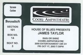 Rare JAMES TAYLOR 10/17/03 Chula Vista CA Coors Amphitheatre Ticket Stub! - $4.94