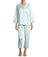NWT New L Designer Natori Light Blue Crop Pajamas PJ's Cotton Sateen Wom... - $123.50