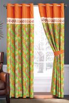 4P Flocking Floral Embroidery Curtain Set Orange Green Ivory Sheer Liner Grommet - $40.89