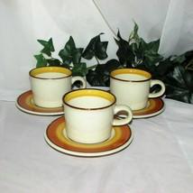 MIKASA ORANGE PEEL COFFEE CUPS & SAUCERS 3 VINTAGE STONEWARE  NA103 BROW... - $19.99