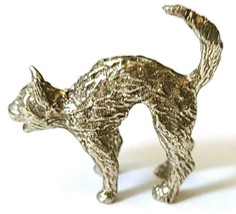 CAT WITH ARCHED BACK FINE PEWTER FIGURINE - Approx. 1 inch tall (T178) image 1