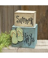 Wooden SUMMER DAYS MINI STACKER Farmhouse Country Primitive Beach Bay Fl... - $53.99