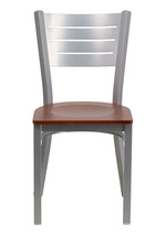 Offex Silver Slat Back Metal Restaurant Chair with Cherry Wood Seat - $96.70