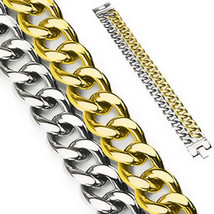 Stainless Steel 316L Silver & Gold IP Dual Band Cuban Link Chain Mens Br... - $24.99
