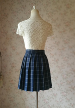 Women Girl Dark Green PLAID SKIRT Short Pleated School Skirt Pleated Plaid Skirt image 3