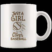 Just a Girl Who Loves Baseball 11oz Ceramic Coffee Mug Gift Brown Text - $19.95