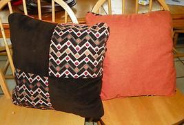 Pair of Orange Brown Dot Print Throw Pillows  16 x 16 - $59.95