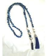 Blue Dyed Quartzite Lariat - $60.00
