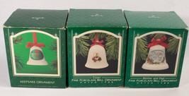 Vintage Lot Of 3 Hallmark Keepsake Christmas Porcelain Bell Ornaments 1986 &1988 - $14.84