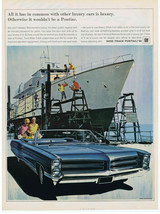 1966 Pontiac Bonneville Convertible Luxury Car Print Ad Yacht Building - $9.99