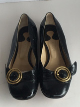 $$$$ Auth CHLOE Rare Style Black Leather Ballet Flat 39/8.5 Gold Buckle ... - $89.97