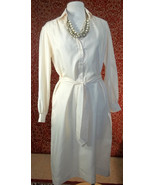 THE LADY MANHATTAN DRESS CO VINTAGE 60s Ivory polyester dress 10 (T1705B8G) - $27.70