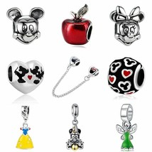 Mickey Princess Dress Wallet Pandora Charms DIY Silver Beads Necklace Bracelet - $3.44