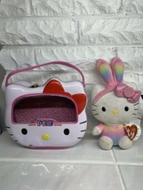 HELLO KITTY PEZ DISPENSER LUNCH BOX CARRY CASE EMPTY WITH TY BUNNY EARS ... - $15.83