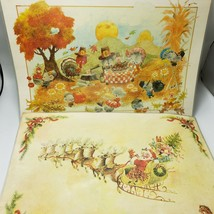 Giordano Thanksgiving Christmas Placemats Lot 3 Childrens Animals Holida... - $19.99