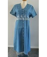 Vintage Modest Prairie Dress Cottage Core Blue Embroidered 80s Avenue K ... - $58.41