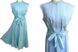 80s does 50s Pure Cotton Rockabilly Pin up Retro Pale Aqua Blue Godet Fl... - $47.00
